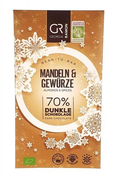 Bio Schokolade Mandeln und Gewürze 70%