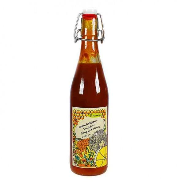 Holunderblüten-Sanddorn Sirup mit Honig